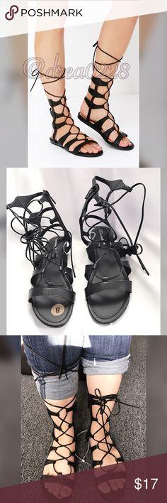 🌷Lace up Black Gladiator Sandals Lace up style. Can be tied at Ankle, or lace up half calf. Condition: BRAND NEW Color: BLACK FAUX LEATHER  Size: 8.    🌸Not interested in Trading.  🌸Smoke Free Home.  🌸Pet Free Home.  🌸Most items are New with Tags. Used items are in Great condition.  🌸If you have any questions please comment.  😊 Shoes Sandals
