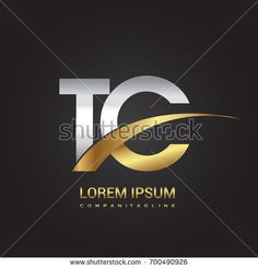 initial letter TC logotype company name colored gold and silver swoosh design. isolated on black background.