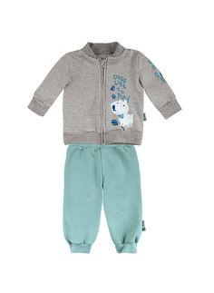 Conjunto Bebê Menino Em Moletom Blusão + Calça | Conjuntos | Masculino | PUC