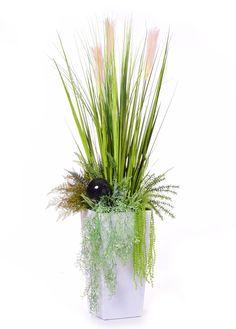 Kompozycja trawy pampasowej i zielonych roślin