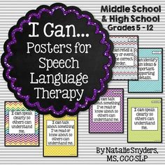 "Brighten up your middle and high school speech therapy rooms with this set of 24 colorful ""I Can"" posters aligned to the CCSS!"