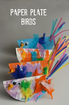 Paper Plate Bird Craft for Kids Easy and SO Cute! is part of Kids Crafts Preschool Happy Hooligans - Cute and Easy Paper Plate Bird Craft for Toddlers and Preschoolers paper plates, paint, feathers, and goggly eyes! Bird Crafts Preschool, Spring Crafts For Kids, Crafts For Kids To Make, Easter Crafts For Kids, Fun Crafts, Art For Kids, Paper Crafts, Kids Diy, Spring Craft Preschool