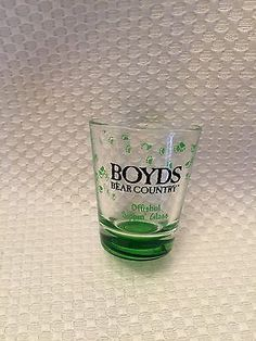 Boyds-Bear-Shot-Glass-Offishul-Sippin-Glass-Rare-with-Bear-Paws-Green-Unique