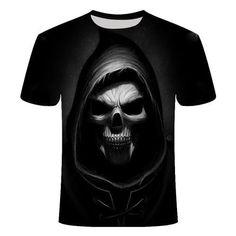 Angel of Death T-Shirt | Skullflow Skull Shirts, 3d T Shirts, Funny Tshirts, Badass Skulls, Angel Of Death, Skull Print, Grim Reaper, Summer Tshirts, Short Sleeves