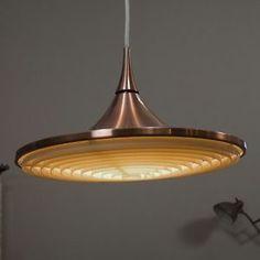 COPPER VINTAGE MID CENTURY MODERN CEILING LAMP DANISH PLAFONNIERE POST ART DECO