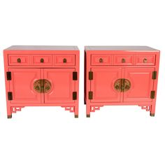 Pink Lacquered Chinoiserie Nightstands, Pair