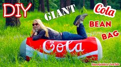 Video tutorial of how to make a bean bag chair shaped like giant Coca-Cola can. I would even call it a couch or a sofa :) You can lay on this type of framele. Make A Bean Bag Chair, How To Make A Bean Bag, Bean Bag Couch, Diy Bean Bag, Large Bean Bag Chairs, Easy Diy Projects, Diy Crafts For Kids, Easy Crafts, Hug Pillow