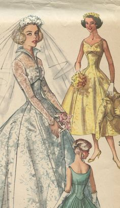 1950s Simplicity 2066 Vintage Wedding Dress Pattern- Sweetheart Neckline Empire Waist Evening Gown Jacket  Bust 32 UNCUT FF