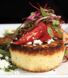 Sweet corn polenta cake with sweet hot red chilies