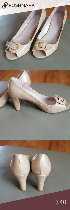 "Peep toe pumps EUC Classy peep toe pump with buckle accent All man made materials 3.5"" heel Etienne Aigner Shoes Heels"