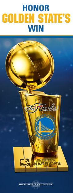Bring home a piece of basketball history! Commemorating the Golden State Warriors 2017 title, this limited-edition sculpture captures all the glory of the Larry O'Brien NBA Championship Trophy.