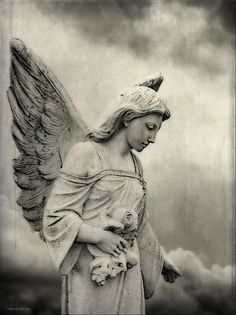 Black and White Angel Statue Cemetery by PaintedTulipStudio, $25.00