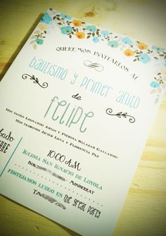 Invitaciones Tarjetas Bautismo Primer Año Cumpleaños - $ 12,99 Baby Baptism, Baptism Party, Christening, Baptism Ideas, Forty Birthday, Boy First Birthday, Ideas Bautismo, Baby Shower Deco, Baptism Invitations