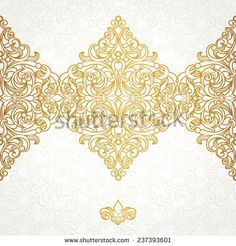 Vector seamless border in Victorian style. Vintage element for design, place for text. Ornamental floral pattern for wedding invitations, greeting cards. Traditional golden decor on light background.