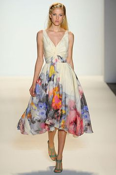 watercolor floral dress by lela rose.