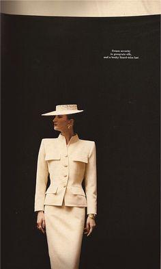 Model Violetta in Yves Saint Laurent, photo by David Seidner, 1986.