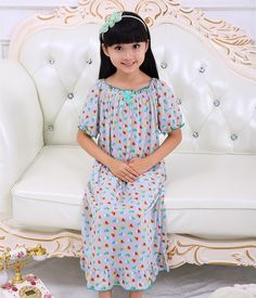10d3b21fdf Summer Kids Nightgown Girls Short sleeve Print Cotton Pajamas Viscose  Pyjamas Sleepwear Pijamas kids Long Princess Nightgown