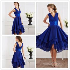 #Empire deep blue  A-Line Short Sleeves V-neck Pleats Tea-Length Chiffon Prom Dresses @dylanqueen