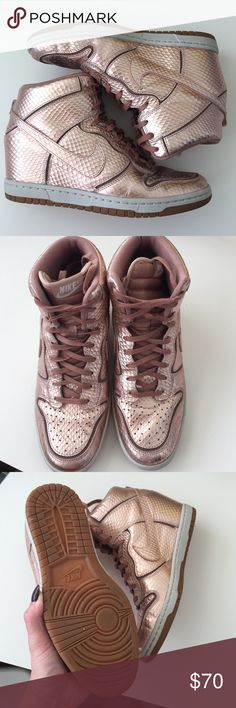 "Nike Dunk Sky Hi Rose Gold size 9.5 Like new size 9.5 rose gold Nike Dunk Sky Hi (wedge sneaker) wedge is about 2"" no box Nike Shoes Athletic Shoes"