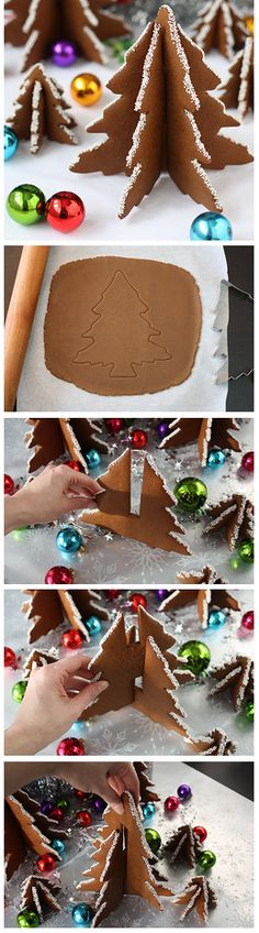 Cookie Christmas Tree Tutorial Very thorough tutorial 3d Christmas Tree, Christmas Gingerbread House, Christmas Sweets, Christmas Cooking, Christmas Goodies, Gingerbread Cookies, Gingerbread Houses, Country Christmas, Christmas Decor