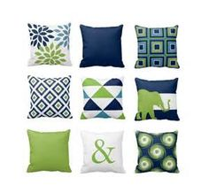 Throw Pillow Covers Navy Blue Green White Light Blue Couch Cushion ...