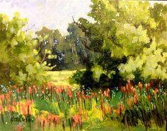 "Daily Paintworks - ""Field Trees"" - Original Fine Art for Sale - © Linda Blondheim"