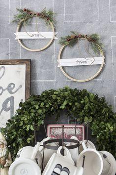 DIY Rustic Farmhouse Christmas Embroidery Hoop Wreaths