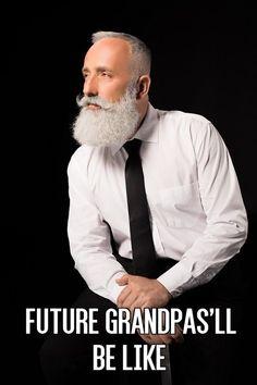 Future Grandpas'll Be like Grey Beards, Long Beards, Beard Styles For Men, Hair And Beard Styles, Hair Styles, Shaved Hair Cuts, Beard Quotes, Beard Game, Beard Humor
