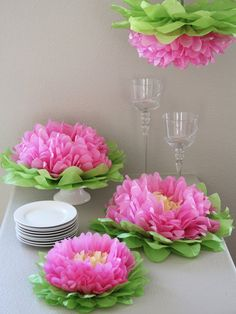 Hanging Paper Flowers by Heart to Heart at Gilt