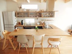 large wood counter Wood Countertops, Rustic Kitchen, Office Desk, Dining Table, Interior, Room, Furniture, Home Decor, Instagram
