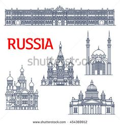 Thin line landmarks of Russia. Winter Palace and Saint Isaac's orthodox Cathedral in Saint Petersburg, Church of the Savior on Spilled Blood and Saint Basils Cathedral