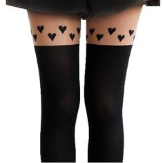 Row of Hearts Faux Thigh High Garter Sheer Stocking Tights for Women   DOTOLY