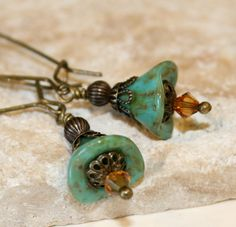 Turquoise picasso earrings Turquoise flower by CharmingLifeJewelry, $16.00