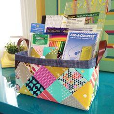Sturdy Fabric Basket free tutorial   lillyella stitchery