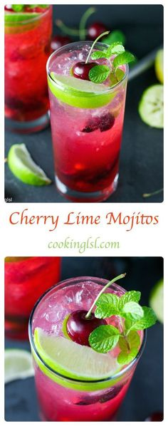 Cherry Lime Mojito - Very simple to make, sweet and refreshing.Summer mixed drink.Fresh cherry rum cocktail for 4th of July.