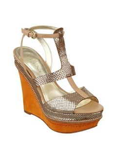 15c548bfbb9 Guess Diastol Gold Metallic Wedges - A multicolored sandal that turned out  to be a cool