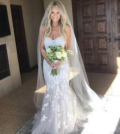 Beautiful blonde bride – long beach waves hairstyle – Stella of York lace & tulle wedding dress Beautiful blonde bride – long beach waves hairstyle – Stella of York lace & tulle wedding dress Veil Hair Down, Bride Hair Down, Wedding Hair Down, Wedding Hair And Makeup, Wedding Hair Blonde, Bride Hairstyles With Veil, Dress Hairstyles, Wedding Hairstyles For Long Hair, Hairstyle Wedding