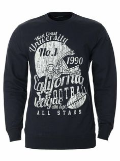 Plain navy sweatshirt for men with a round neck and cracked print on front. Indigo, California, Navy, Stylish, Sweatshirts, Men, Hale Navy, Indigo Dye, Trainers