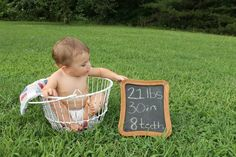 1st birthday photo: 1 year olds, stats on chalkboard  - Tina Farmer Photography