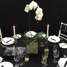 Black sequin box covers on the black silk tablecloth.so lovely. Covered Boxes, Tablecloths, Black Sequins, Black Silk, Charcoal, Table Settings, Sparkle, Box Covers, Table Decorations