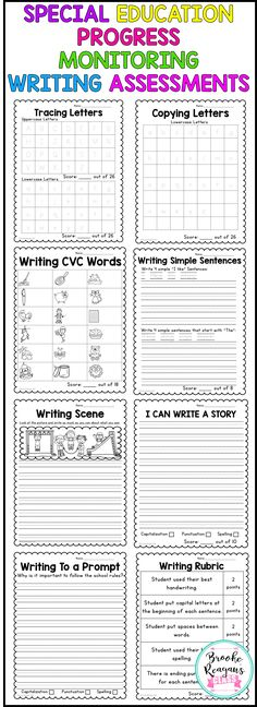 Special education progress monitoring writing assessments. Easy to use and track student progress in writing. Perfect to give to see growth and write progress for writing IEP goals! No prep!