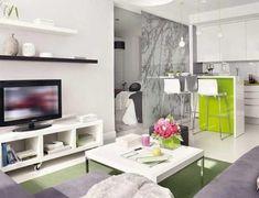 Petit appartement, design vert et blanc