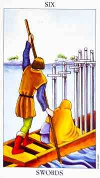 Literally, the Six of Swords can indicate a trip across water (for example, via a ferry, boat, or plane overseas). You need to realise that you are now headed towards a much better position in life. You have endured, or are currently enduring, a difficult life transition but as a result, you will be more able to deal with what may come.
