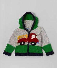 Look at this #zulilyfind! Gray & Green Eric Truck Wool Hoodie - Toddler & Boys #zulilyfinds