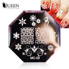 Nuevo 1 unids tema de la navidad Nail Art sello placa de la imagen plantilla de acero inoxidable polaco Art diseño manicura herramientas del clavo