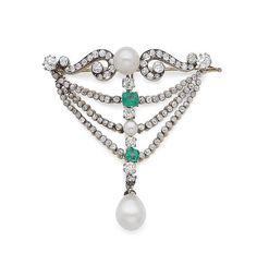 A cultured pearl, emerald and diamond brooch