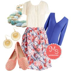 In this outfit: Adept Apprentice Skirt, Charter School Cardigan in Royal Blue, Top of the Morning Flat in Reef, Ray of Glory Earrings, Berry Good Harvest Necklace #workwear #pastels #floral #cardigan