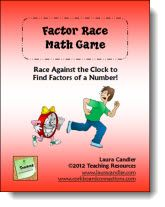 Factor Race Game Freebie - Fun game for kids to practice finding factors of a number.