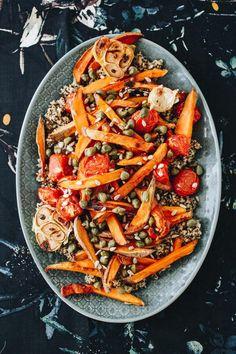 Édesburgonyás quinoa saláta » Lila füge Quinoa, Xmas Food, Japchae, Paella, Carrots, Food And Drink, Meals, Vegetables, Ethnic Recipes