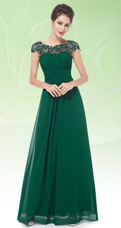 Lace Cap Sleeve Evening Gown Green Formal Dressesemerald Wedding